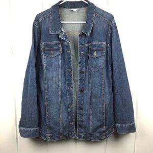 J. Jill Blue Distressed Denim Jacket - Large Missy